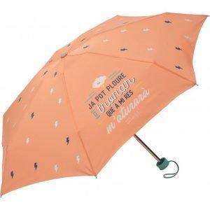 """Paraguas plegable Mr. Wonderful CAT """"Ja pot ploure o tronar que a mi res m´aturarà"""" Salmón"""