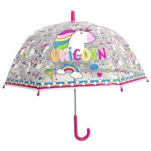 Paraguas infantil UNICORNIO Transparente Rosa